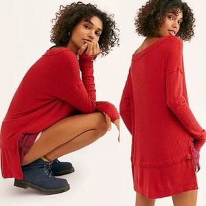 Free People Red Thermal Waffle Top Oversized Tunic